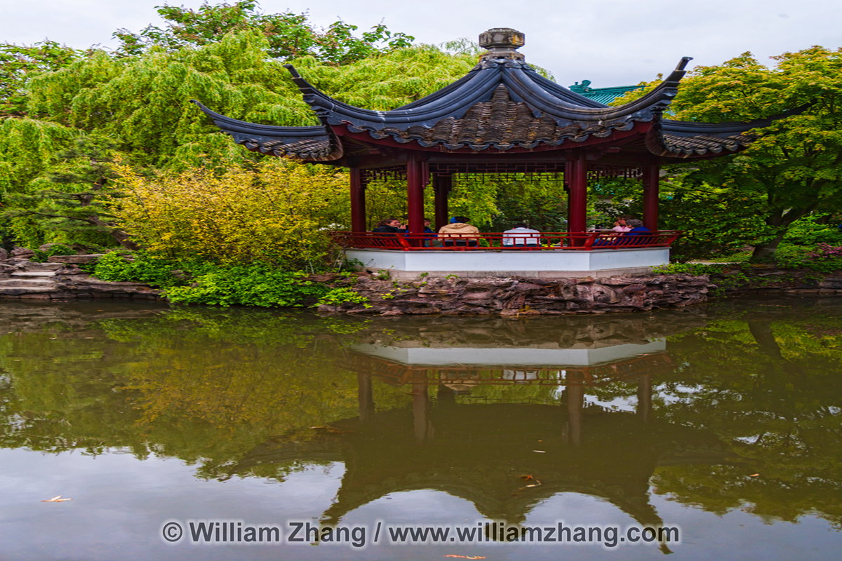 Pavilion reflection at Chinese garden in Vancouver. BC, Canada