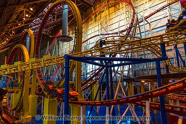 Twists and turns of roller coasters at West Edmonton Mall