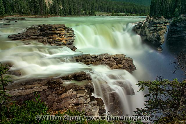 Rock shelf at Athabasca Falls in Jasper National Park. Alberta