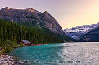 Lake Louise and boathouse with Mount Victoria. Alberta, Canada