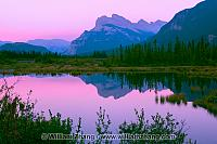 Twilight at Vermilion Lakes and Mount Rundle reflection. Banff,
