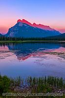 Mount Rundle with sunset reflection. Banff, Alberta, Canada