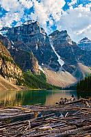 Log jam at Moraine Lake. Banff, Alberta, Canada