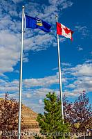 Canadian and Alberta flags at Royal Tyrrell Museum