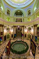 Fountain and banners in Alberta Legislative Building. Edmonton