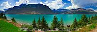 Panorama of Bow Lake along Icefields Parkway. Alberta, Canada