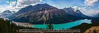 Panorama from Bow Summit of Peyto Lake and mountains in Alberta