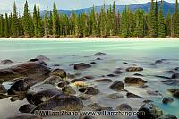 Rocky shore of Lake Patricia in Jasper National Park. Alberta