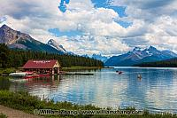 Maligne Lake and high mountains in Jasper National Park. Alberta