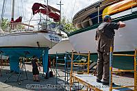 Boat repairs on Granville Island in Vancouver. BC, Canada