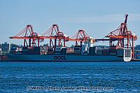 Container ship and cranes in North Vancouver. BC, Canada