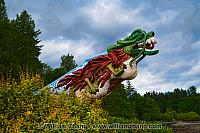 Dragon totem in Stanley Park in Vancouver. BC, Canada