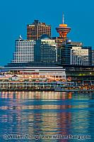 Canada Place and Harbour Centre Tower in Vancouver. BC, Canada