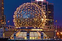 Lighted dome of Telus World of Science in Vancouver. BC, Canada