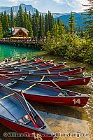 Canoes by bridge to Emerald Lake Lodge at Yoho National Park. BC