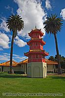 Pagoda in park at senior center. Oakland, CA