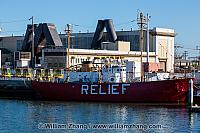 Lightship Relief berthed in port. Oakland, CA