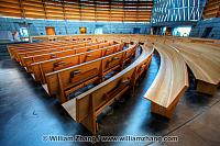 Wood pews at interior of Christ the Light Cathedral. Oakland, CA