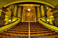 Grand staircase and chandelier at Grand Lake theater. Oakland, C