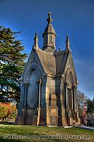 Masoleum on a hill at Mountain View Cemetery. Oakland, CA