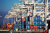 Containers and creanes at terminal at port. Oakland, CA