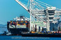 Container ship, cranes and tugboats at port. Oakland, CA