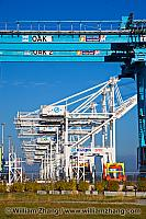 Cranes in a row at port terminal. Oakland, CA