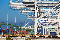 A line of cranes crowd terminal at port. Oakland, CA