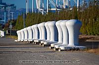 Row of bollards at Middle Harbor Shoreline Park. Oakland, CA
