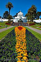 Long flower bed at Conservatory of Flowers in Golden Gate Park.