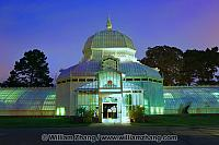 Front view at twilight of Conservatory of Flowers. San Francisco