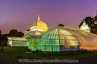 Glass wing at twilight of Conservatory of Flowers. San Francisco