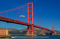 Endeavor and 747 pass Golden Gate Bridge. San Francisco, CA