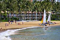 Sailboats pull up on the sand at Kalapaki Beach on Kaua'i